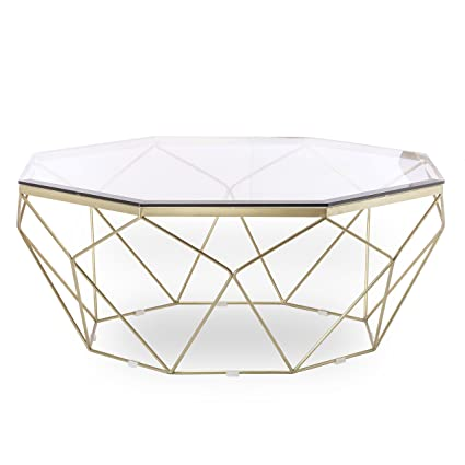 Design Tree Home Esme Geometric Coffee Table, Gold With Glass Top