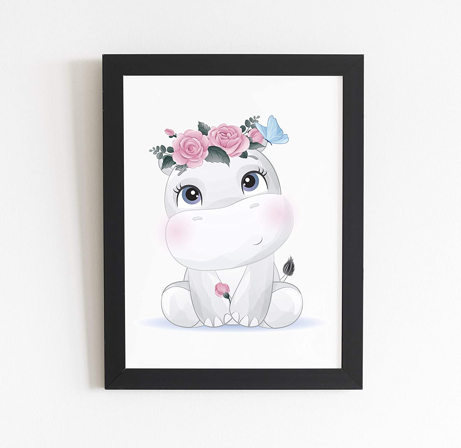 Baby Hippo With Flower Crown | Girls Room Decor, Boho Nursery, Baby Animal Prints, Nursery Wall Art | Kids Bedroom Decor , Girl Unique Birthday Party Decoration | Unframed Wall Poster - 8.5 X 11 Inch
