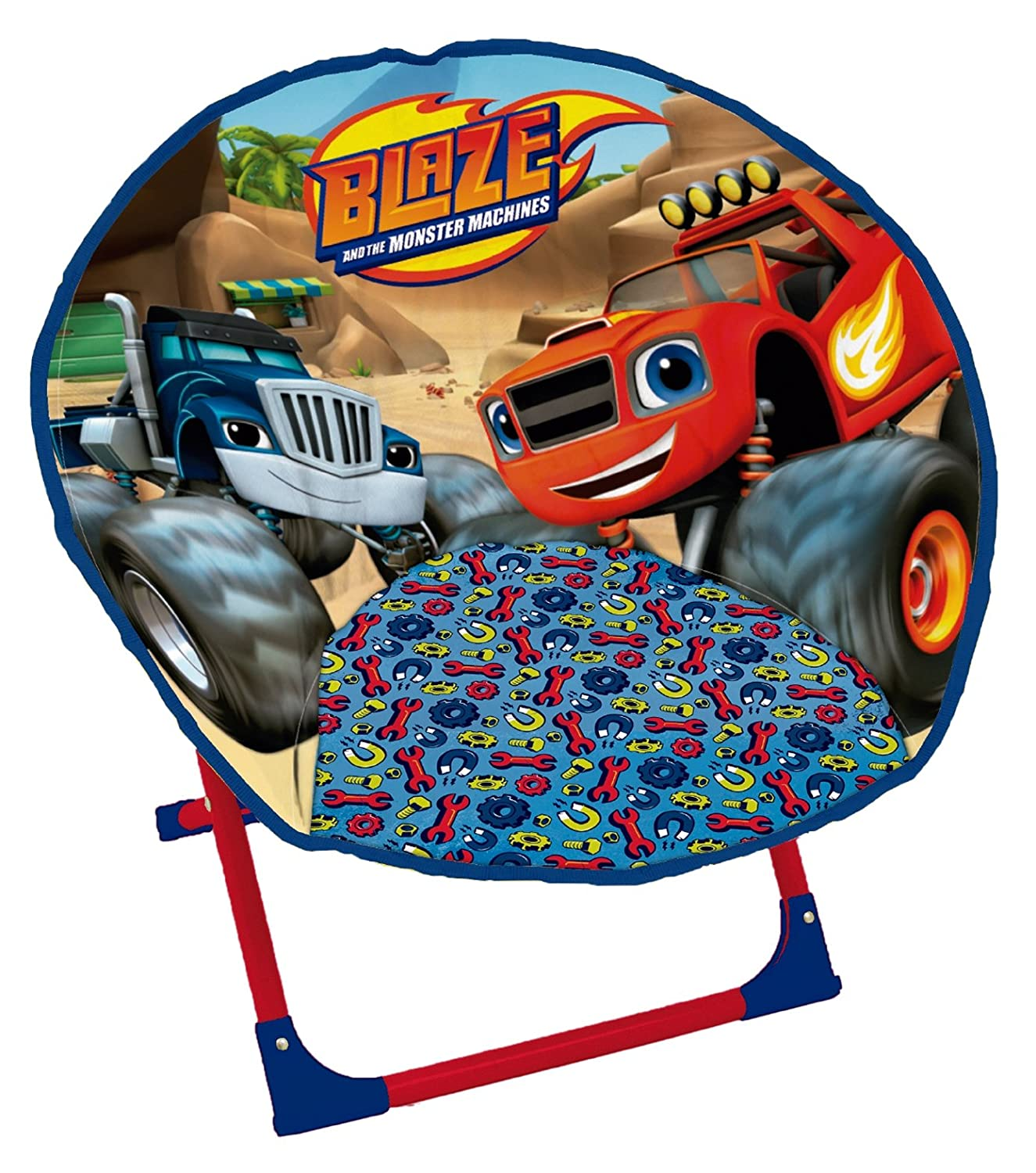 Arditex Blaze Licensed Polyester Folding Moon Chair with Metal Frame and Monster Machines, Fabric, 50 x 50 x 50 cm BZ11519