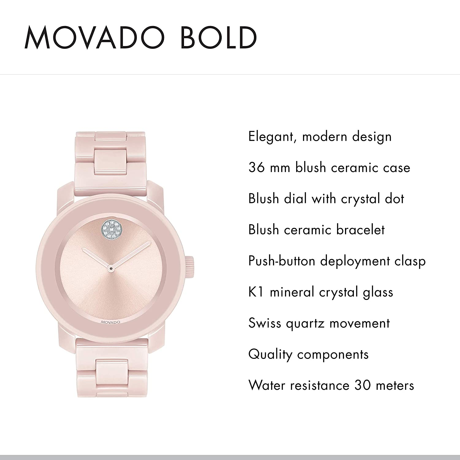946e63995 Amazon.com: Movado Women's BOLD Ceramic Watch with a Crystal-Set Dot,  Pink/Silver (Model 3600536): Watches