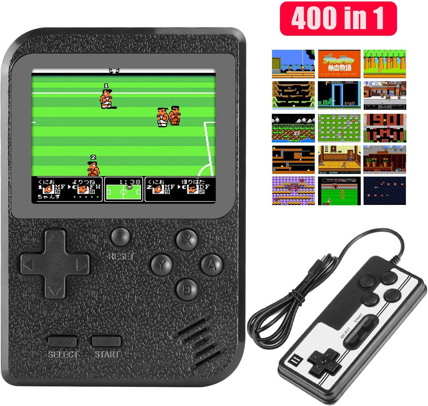 Birthday for Boys Girls Men Rechargeable FC Game Console Support TV Output and Two Players Number-One Handheld Game Console Portable Gameboy with 400 Classic 3 Inch Screen