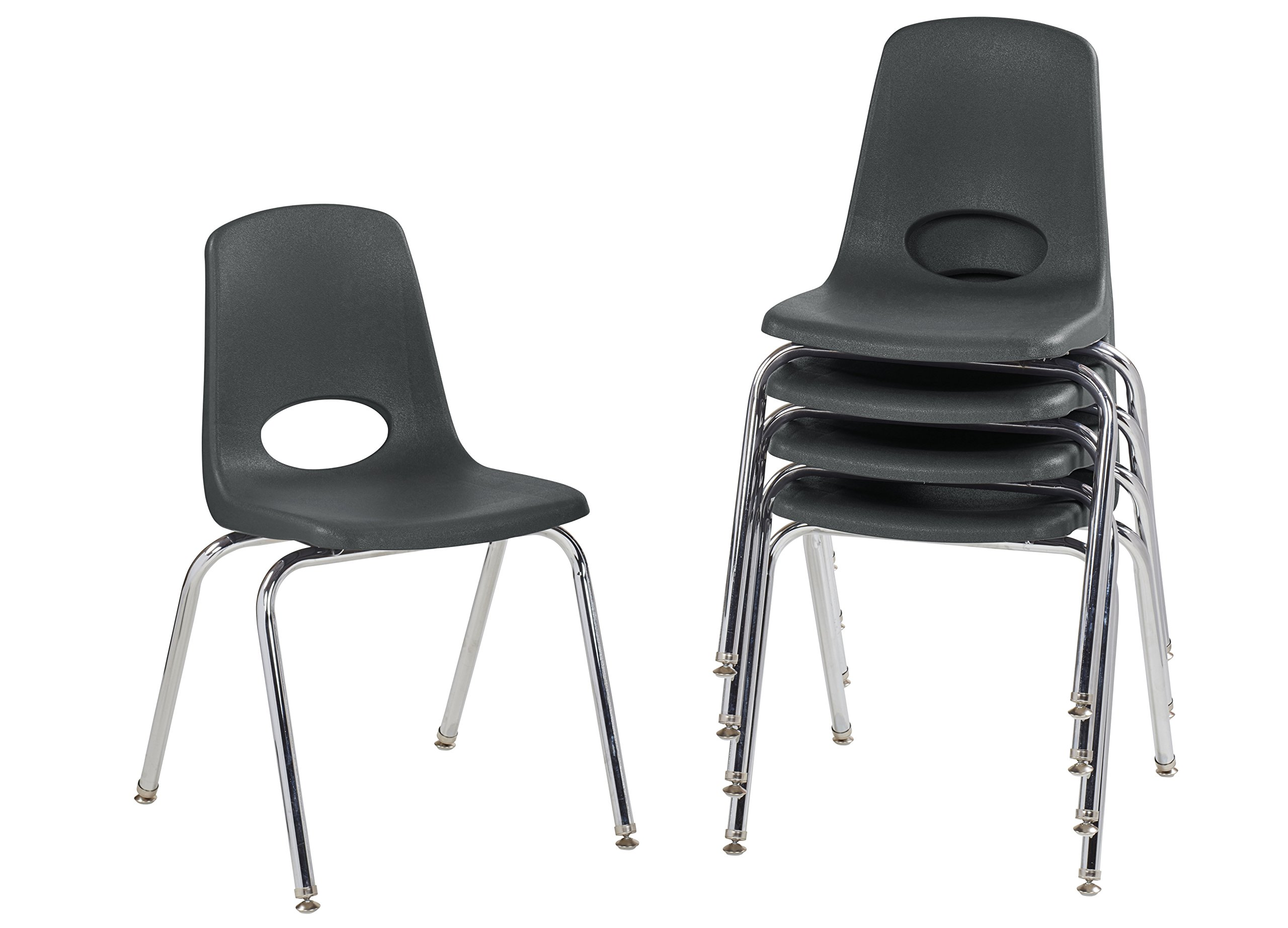 ECR4Kids 18'' School Stack Chair, Chrome Legs with Nylon Swivel Glides, Black (5-Pack)