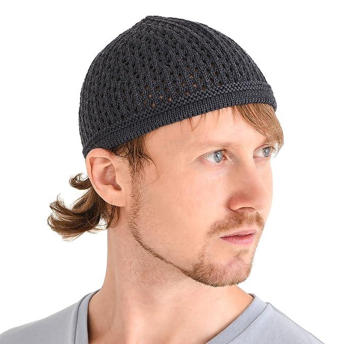 c6814060b67a5f Casualbox Knit Cotton Skull Cap Kufi Islam Prayer Hat Crochet Mesh Skully  Beanie Grey: Amazon.in: Clothing & Accessories