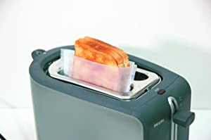 Cooks Innovations Toaster Bags 4-Pack - Non-Stick Reusable - Prepare a grilled sandwich in your toaster.