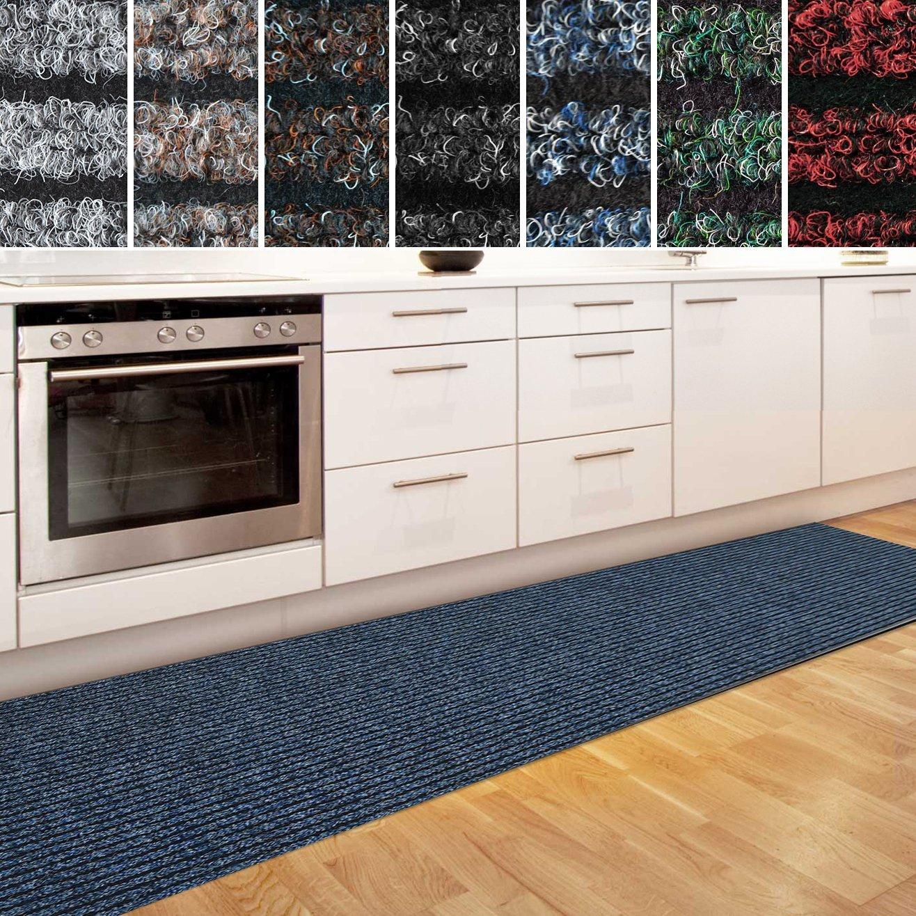 Casa pura Küchenläufer Granada in großer Auswahl   strapazierfähiger Teppich Läufer für Küche Flur UVM.   Rutschfester Teppichläufer Flurläufer für alle Böden (80x450 cm Blau)