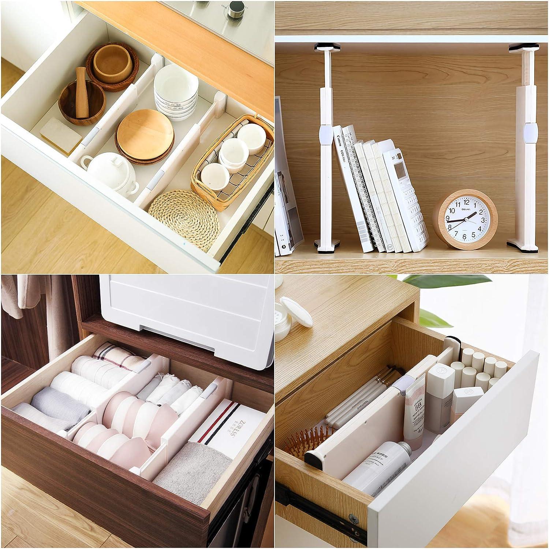 Chambre VLikeze Lot de 4 s/éparateurs de tiroir r/églables avec Bords en Mousse Anti-Rayures pour Cuisine Salle de Bain et Bureau