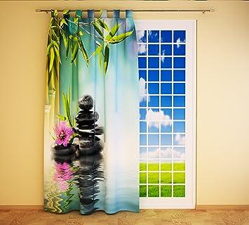 Hervorragend Clever Kauf 24 Schlaufenschal Vorhang Gardine Steine Orchidee Bambus BxH  145 X 245 Cm