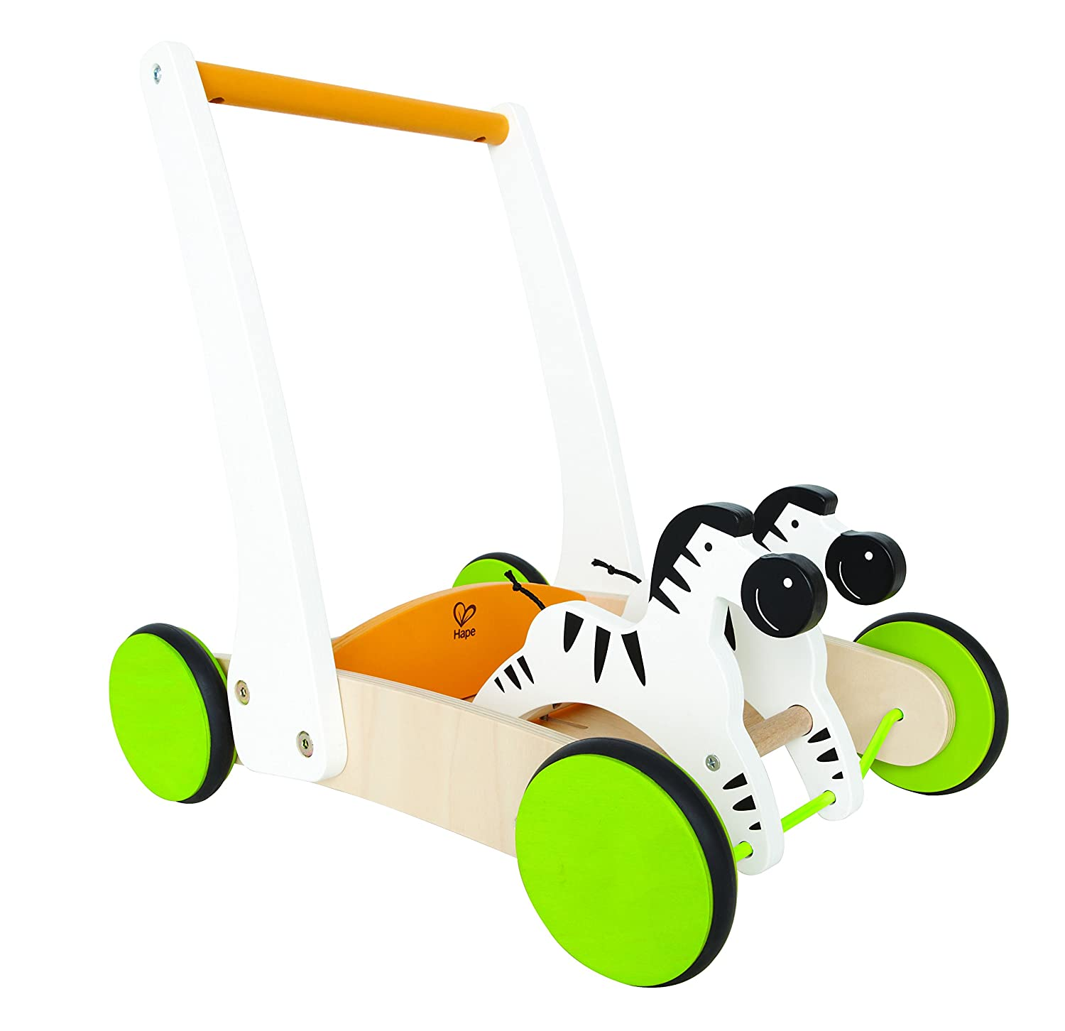 Push Along  Nodding Zebra Walking Toy. Has a sturdy base for pulling up. Rubber rimmed wheels. Ages 12 month & up.