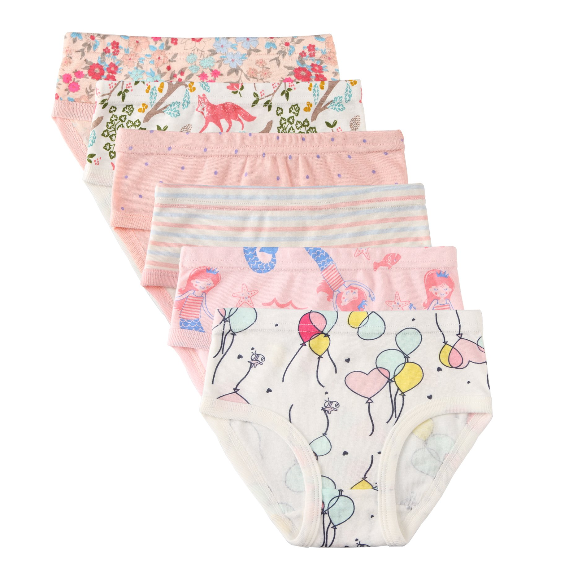 Little Girls' Soft Cotton 6-Pack Underwear Bring Cool, Breathable Comfort Experience in Summer. (Assorted B, 3-4Years)