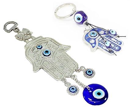 Juego de 2 ~ turco ojo azul mano de Fátima amuleto + Hamsa ...