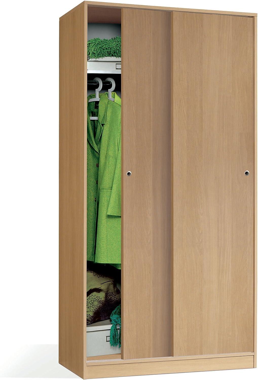Armario Color Roble, 2 Puertas correderas Regulables, altillo y Barra Interior incluida de Dormitorio. 200cm Alto x 100cm Ancho x 55cm Fondo