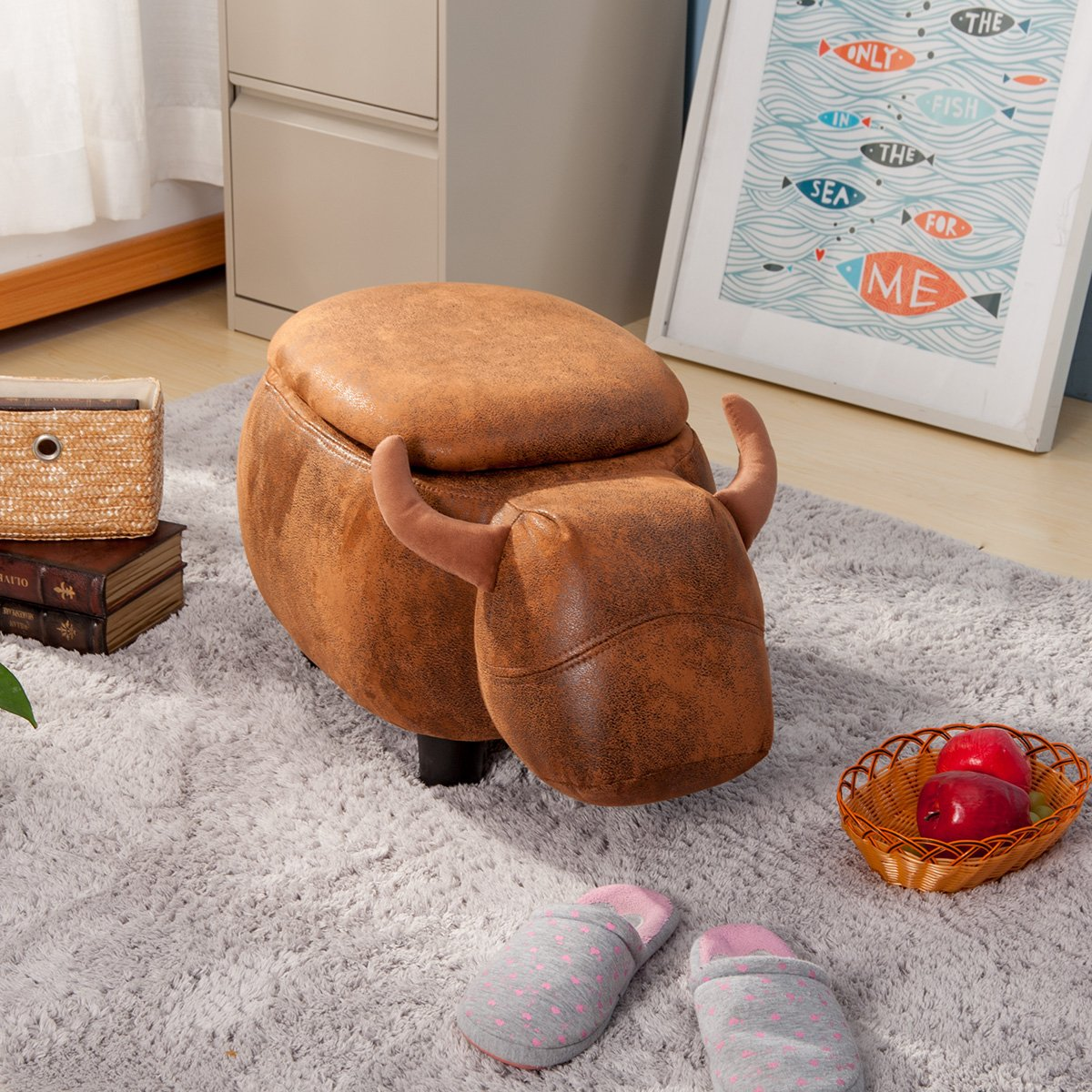 Merax Have-Fun Series Upholstered Ride-on Storage Ottoman Footrest Stool with Vivid Adorable Animal Shape (Brown Buffalo
