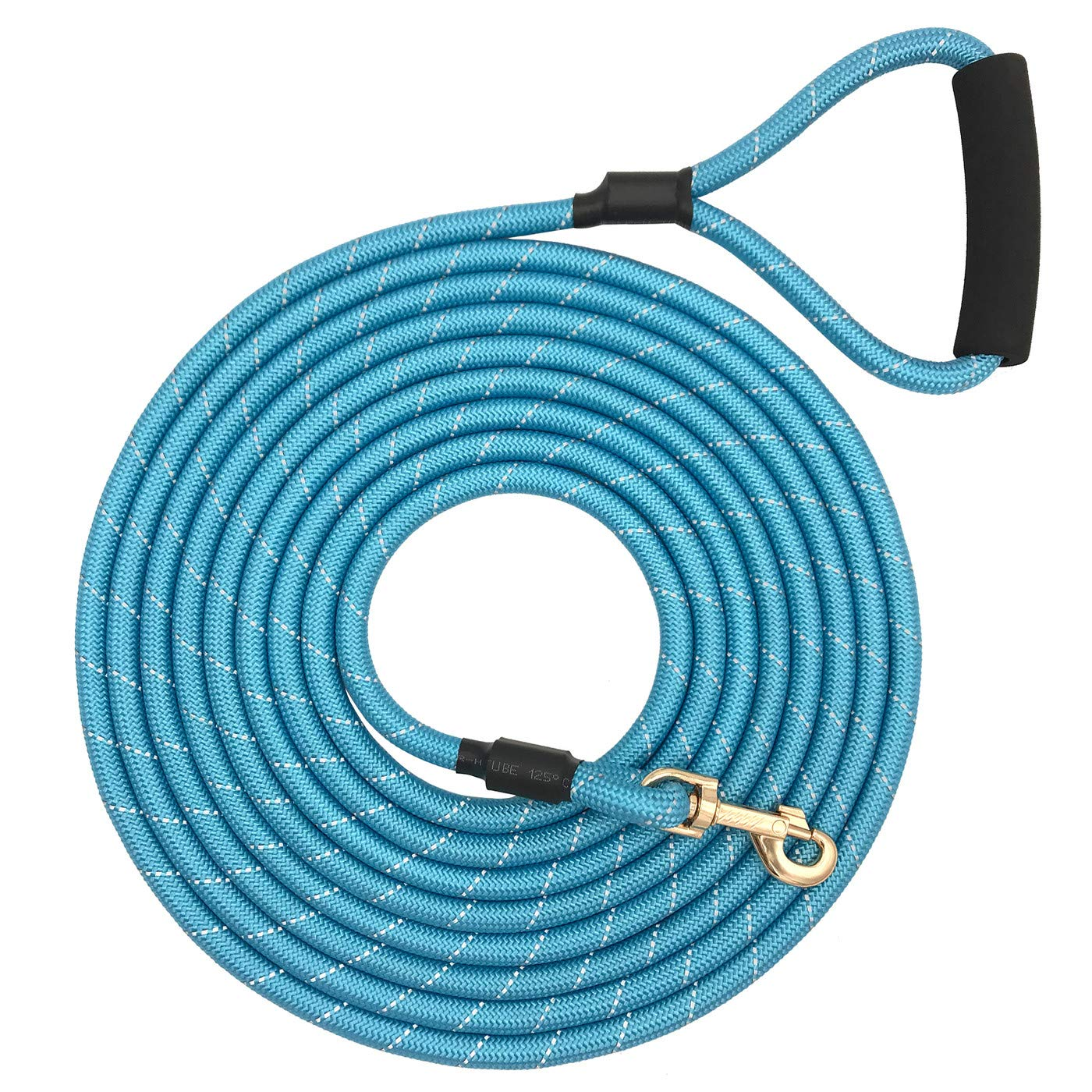 Shorven Nylon Strong Dog Rope Lead Reflective Training Dog Leash with Soft Handle 8-20 FT Long Aqua Blue (Dia:0.5'' 20FT) by Shorven