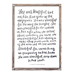 She was Beautiful F. Scott Fitzgerald Quote Wood Sign | Motivational Office Decor Wall Art Rustic Home Decor Wooden Farmhouse Inspirational Gift for Her