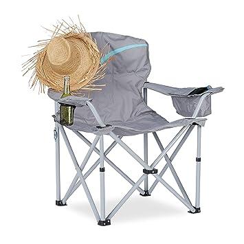 Relaxdays Silla Plegable de Camping con Posavasos, Aluminio y Poliéster, Gris, 96x93x61 cm