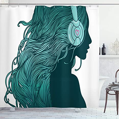 Ambesonne Music Shower Curtain Dj Girl Profile With Long Hair In Headphones Nightclub Silhouettes Party Print Cloth Fabric Bathroom Decor Set With Hooks 84 Long Extra White Teal Home Kitchen