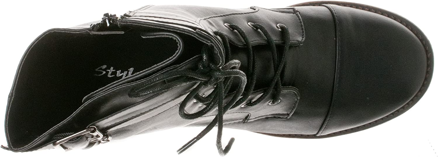 STYLUXE Womens Taggy Mid-Calf Combat Boots