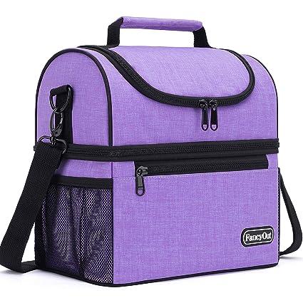 Lunch Bag Dual Compartment Leak Proof Liner Cooler Bag Adjustable Shoulder Strap