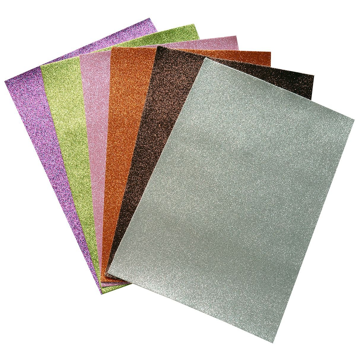 Glitter Faux Leather Fabric Sheets- 6 Pieces Assorted Colors A4 Size Precut Shiny Superfine Canvas Back for Bag Making, Hat Making, Hair Crafts Making, Jewelry Making, Sewing, Shoe Making Doublefire