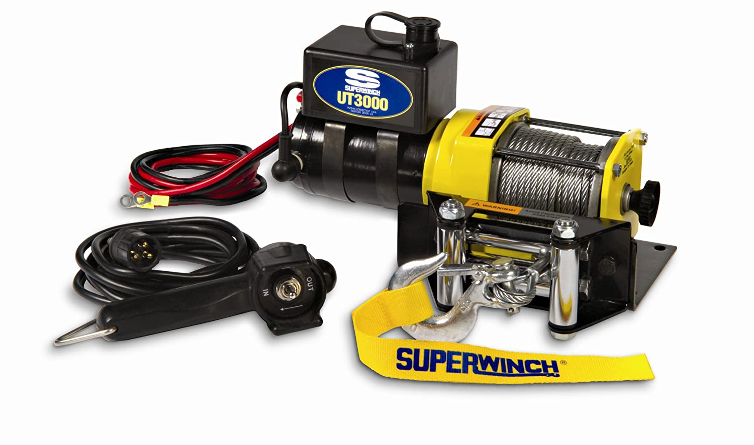 Amazon.com: Superwinch 1331200 UT3000, 12 VDC winch, 3,000lb/1360 kg with  mount plate, Roller Fairlead & 12' remote: Automotive