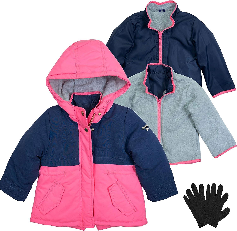 Oshkosh Girls 4 in 1 System Winter Jacket Fleece Wind Breaker Rain Coat and Gloves