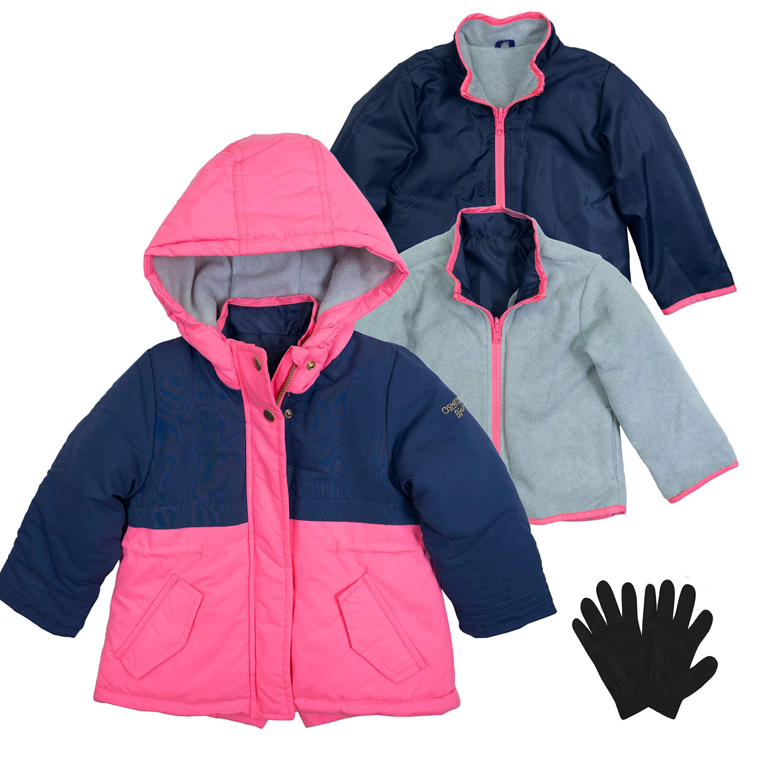 OshKosh Toddler Fleece Lined Interchange System Jacket and Mittens Pink/Navy 4T by OshKosh B'Gosh