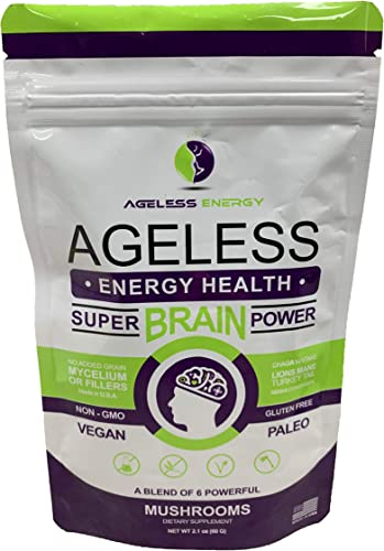 Super Brain Power Mushroom Powder by Ageless Energy – 6 Amazing Mushroom Extract PowderOrganic-Lions Mane, Reishi, Cordyceps, Chaga, Turkey Tail, Maitake-60g-Supplement-Add to Coffee Shakes Food