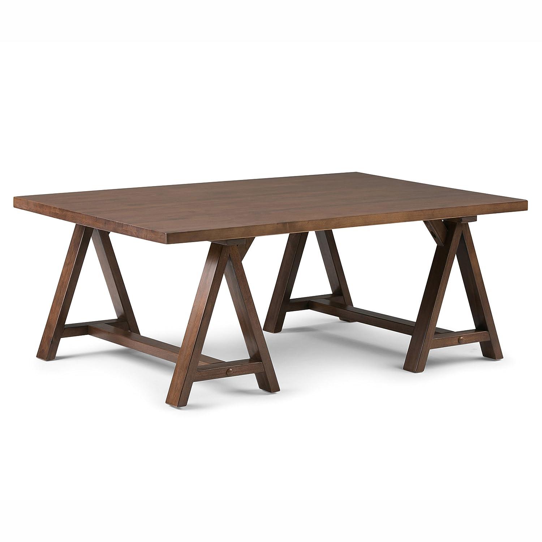 Amazon Simpli Home Sawhorse Coffee Table Medium Saddle Brown