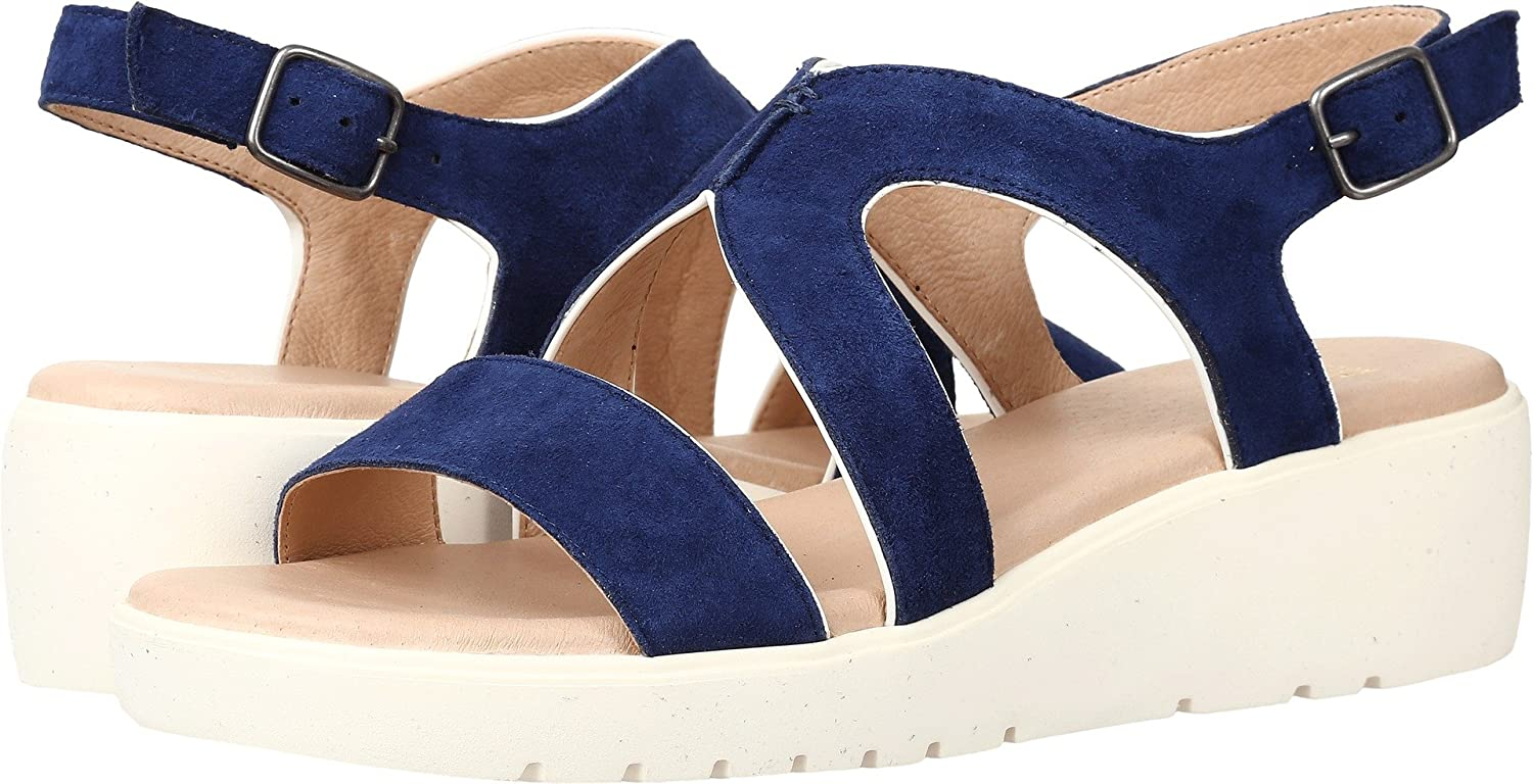 Johnston & Murphy Women's Cora Dark Blue Wedge Sandal B01HQVS6EW 7.5 B(M) US|Dark Blue
