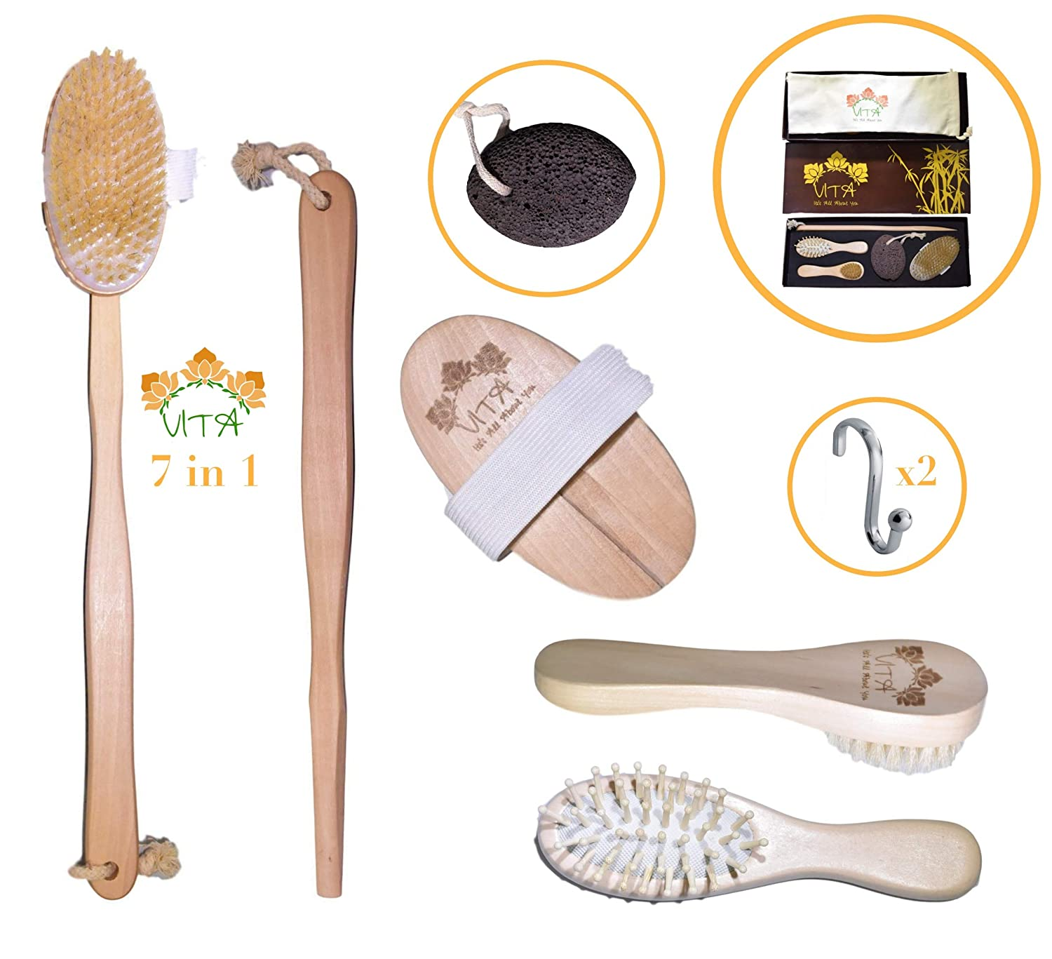 VITA Dry Brushing Body Brush - 7 Piece - Keratosis Pilaris Treatment 100% Boar Bristle Dry Body Brush Set, Face & Body Exfoliating Brush, Pumice Stone, Hair Brush & Carry Bag in Gift Box VITA Melius