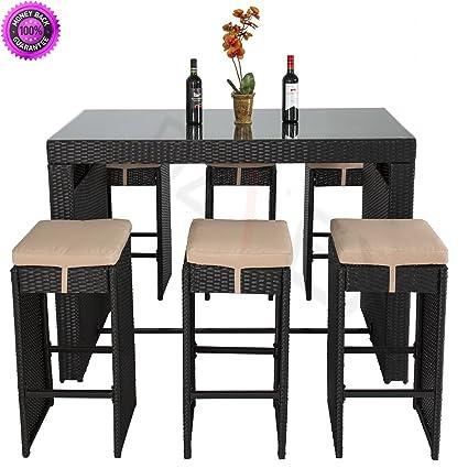 DzVeX 7-Pc Outdoor Wicker Bar Dining Patio Set w/Glass Table Top, - Amazon.com : DzVeX 7-Pc Outdoor Wicker Bar Dining Patio Set W/Glass