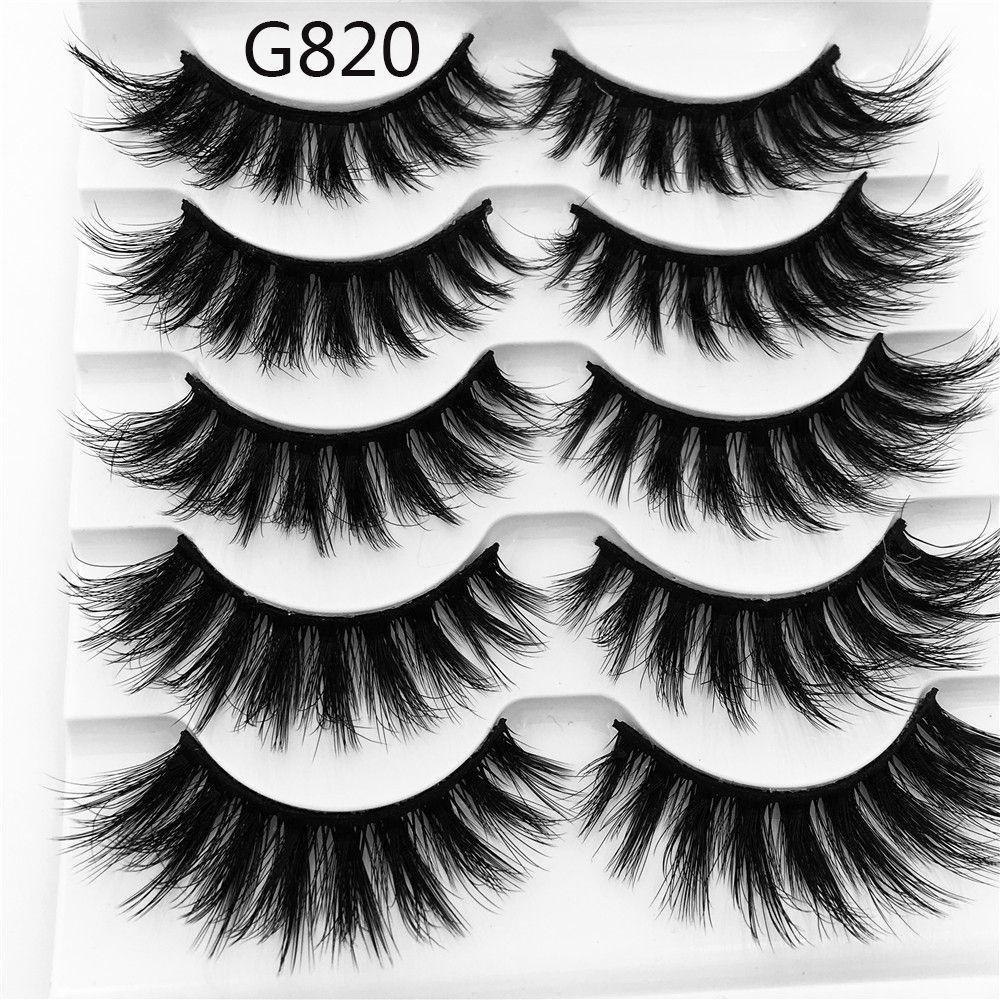 4ed0c71a814 Amazon.com : hermosotodo SKONHED 5 Pairs Reusable Voluminous Handmade Wispy  Lashes Extension Tools False Eyelashes 3D Mink Hair : Beauty