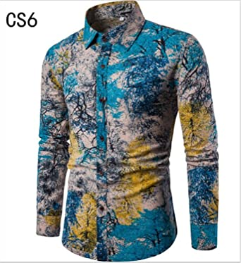 Sonjer New Special Offer Full Cotton Autumn New Fashion Flower Printed Long Sleeve Shirts Men Camisa