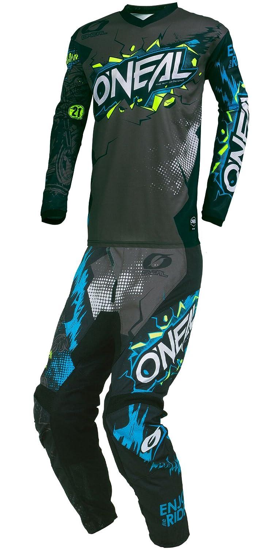 O'Neal - 2019 Element Villain (Mens Grey & Black Large/34W) MX Riding Gear Combo Set, Motocross Off-Road Dirt Bike Jersey & Pant
