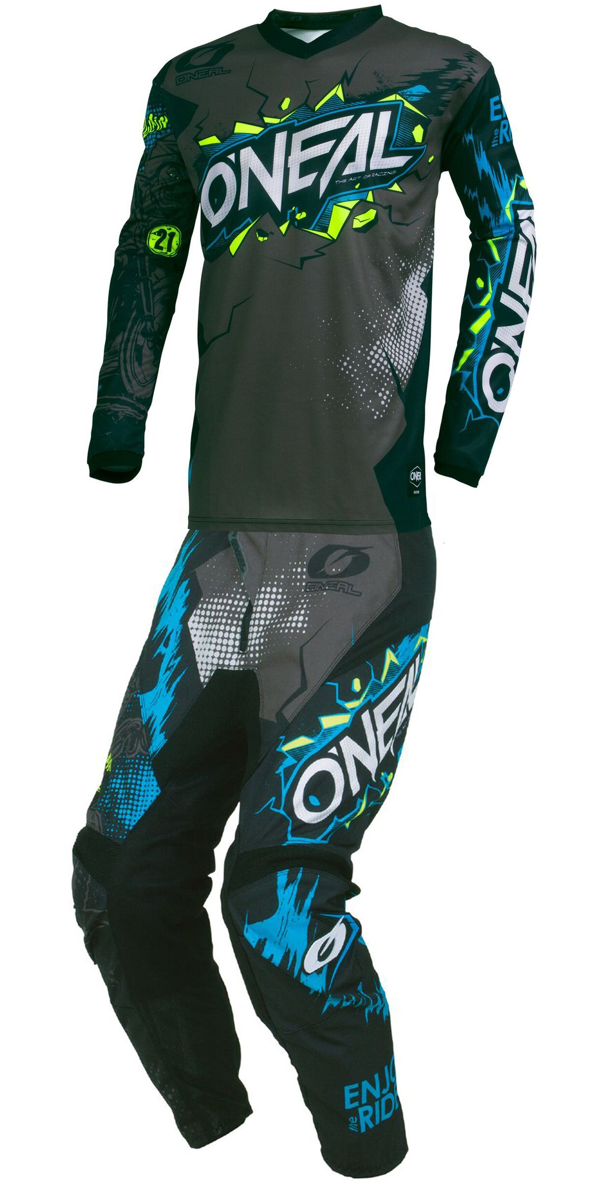 O'Neal - 2019 Element Villain (Mens Grey & Black Medium/32W) MX Riding Gear Combo Set, Motocross Off-Road Dirt Bike Jersey & Pant