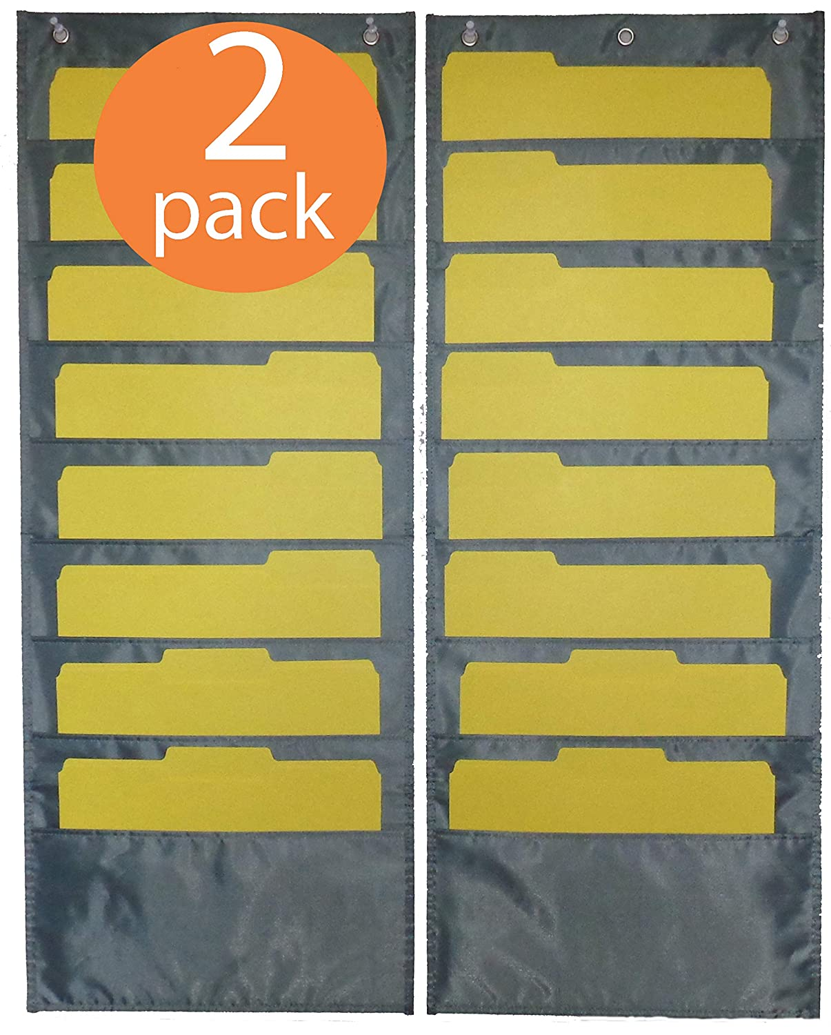 Amazon.com : WALL HANGING FILES HOLDER - PREMIUM 2 Pack each holds 8 ...