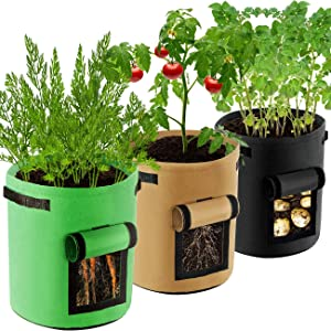 COSYLAND Potato Grow Bags 10 Gallon 3 Pack Garden Planting Pouch Nonwoven Fabric Pots Container with Handles and Visualization Window for Potato/Ginger/Carrot/Vegetables/Plant