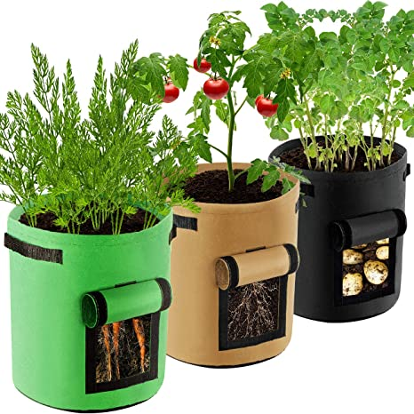 COSYLAND Potato Grow Bags 10 Gallon 3 Pack Garden Planting Pouch Nonwoven Fabric Pots Container with Handles and Visualization Window for Potato//Ginger//Carrot//Vegetables//Plant