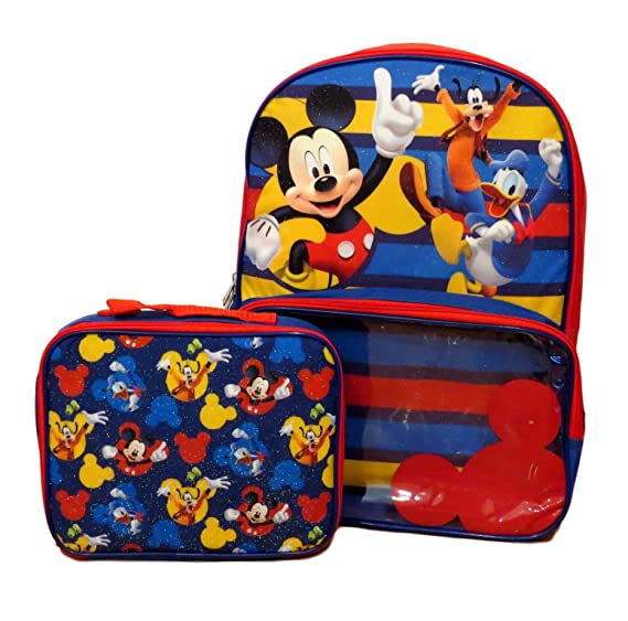 1ca4aa6f0a3 Disney Mickey Mouse Backpack with Detachable Insulated Lunch Bag   Amazon.co.uk  Clothing