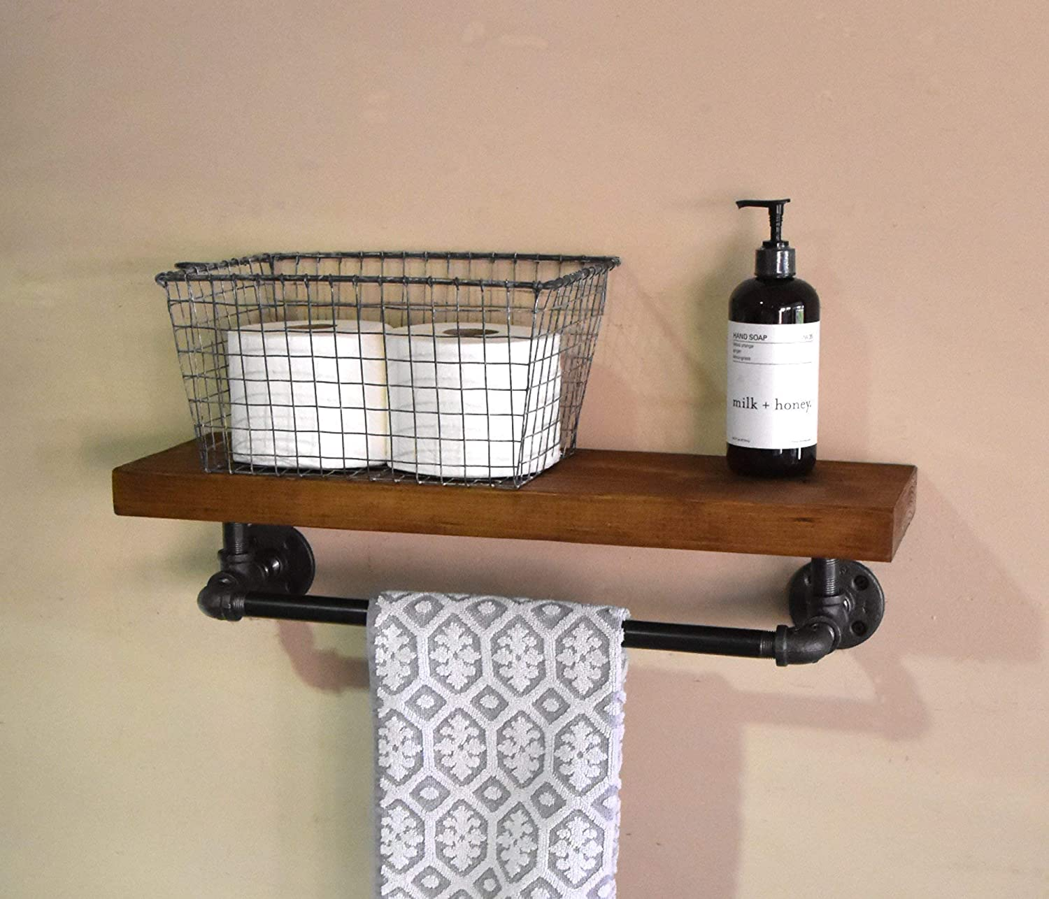 Bathroom Modern Towel and Soap Storage Farmhouse Open Shelving 24 Industrial Floating Rustic Farmhouse Shelf with 18 long Iron Pipe Towel Bar