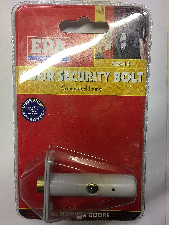 Era - Chiavistello di sicurezza per la porta, larghezza piastra 19 mm, lunghezza 41,5 mm, cilindro 15,5 x 78 mm, finitura bianca