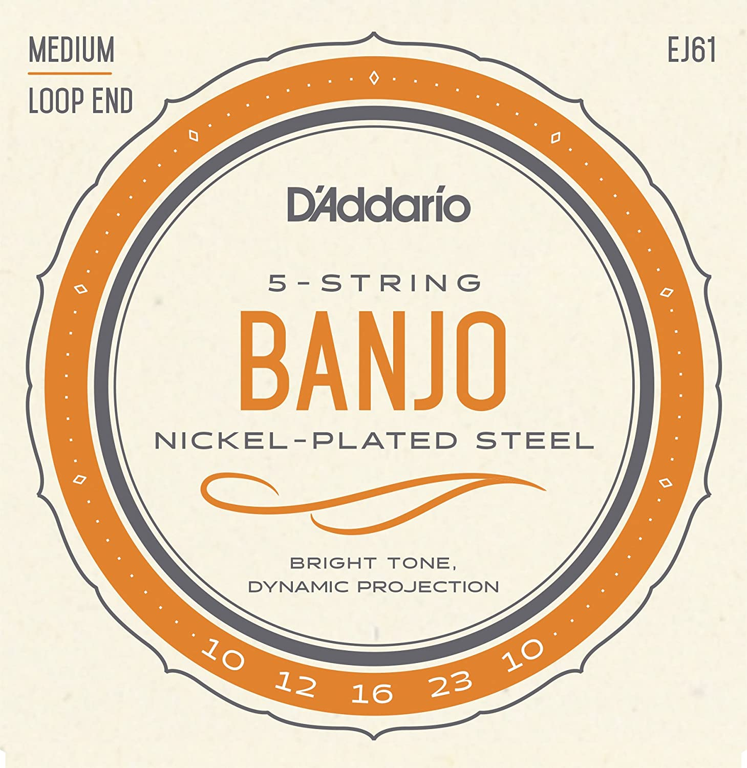 D'Addario EJ61 Nickel 5-String Banjo Strings, Medium, 10-23 D' Addario