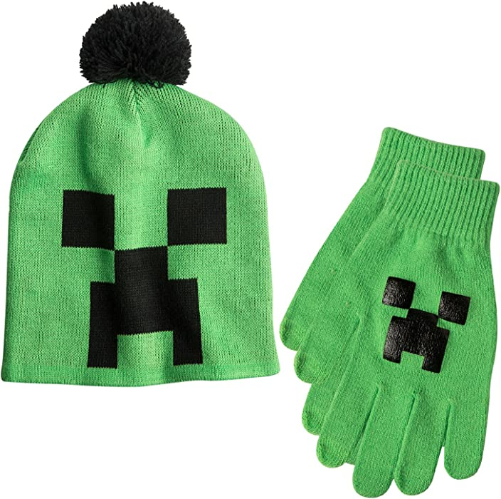 796d8e2ad0512 JINX Minecraft Creeper Face Knit Beanie   Mittens Set