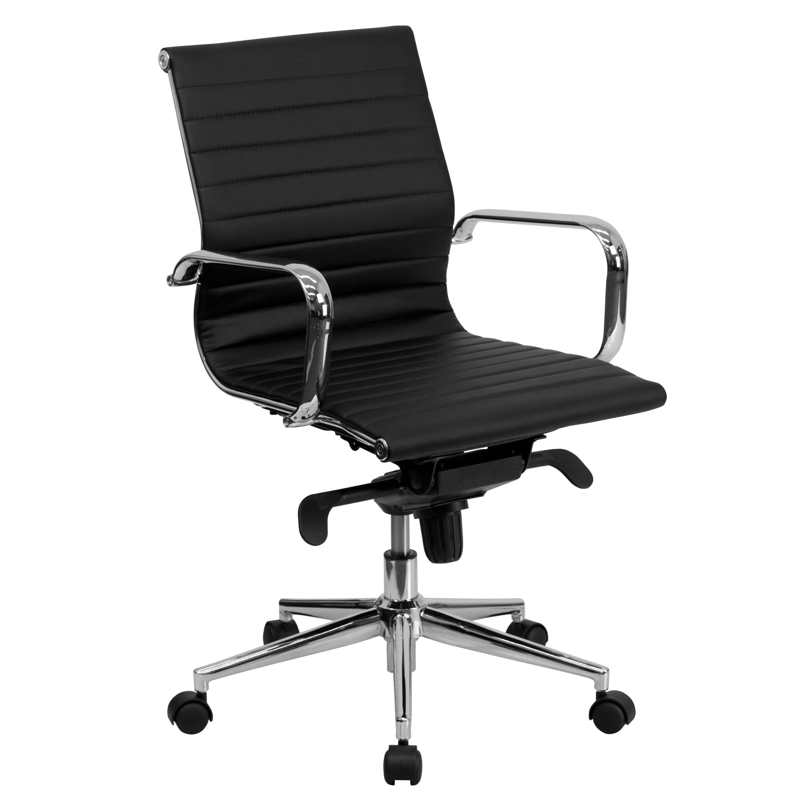 Flash Furniture Mid-Back Black Ribbed Leather Swivel Conference Chair with Knee-Tilt Control and Arms by Flash Furniture