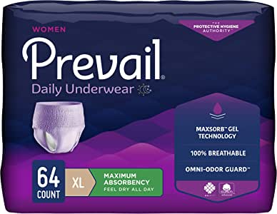Prevail Maximum Absorbency Incontinence Underwear for Women, Extra Large, 16 Count (Pack of 4)