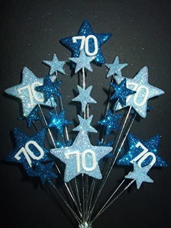 STAR AGE 70TH BIRTHDAY CAKE TOPPER DECORATION IN SHADES OF BLUE