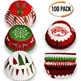 100 Christmas Themed Cupcake Cases - Individual mini cake, muffin cup Holders - Assorted Designs - Ideal for Xmas Parties, Holiday, Christmas Baking Etc