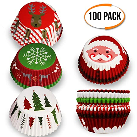 100 Christmas Themed Cupcake Cases Individual Mini Cake Muffin Cup Holders Assorted Designs Ideal For Xmas Parties Holiday Christmas Baking