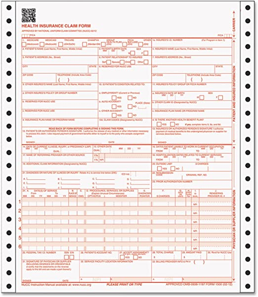 TOP50122RV TOPS CMS-1500 Insurance Continuous Forms