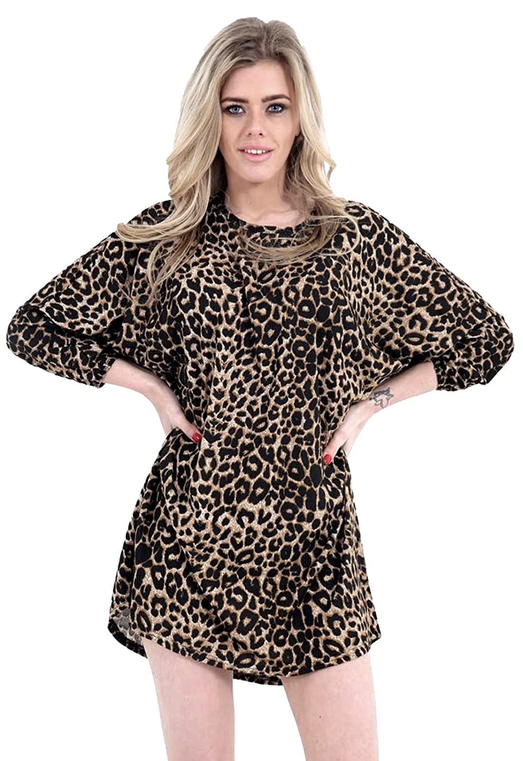 a1b8ee5a2af5 Womens Oversized Dipped Hem Baggy Batwing Loose Top Printed Tunic Dress (Leopard  Print